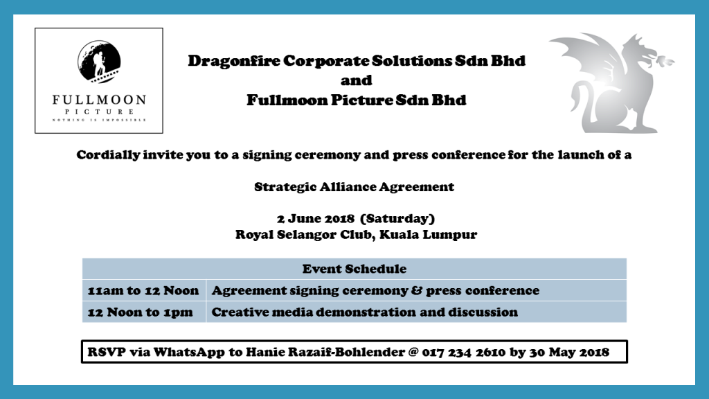 Invitation To Signing Of Strategic Alliance Agreement On 2 June 2018